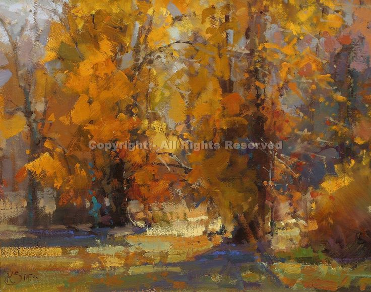 Cottonwoods - Oil by Kathryn Stats