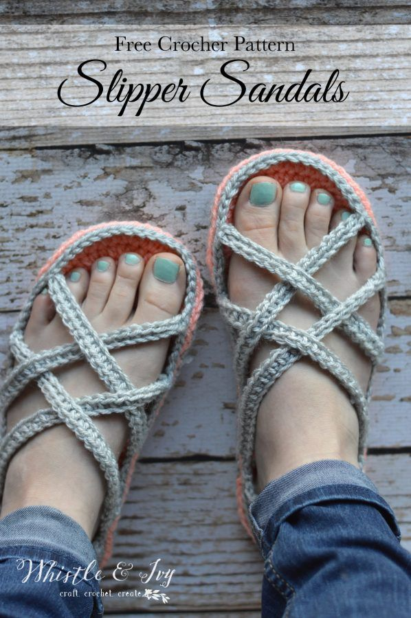 FREE Crochet Pattern: Women's Slippers Sandals | A fun and quick project. Pretty and comfy slippers, perfect for the warmer months!