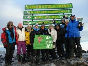 A successful summit of Kilimanjaro. We took 12 ladies to the summit for Woman's day and breast cancer awareness