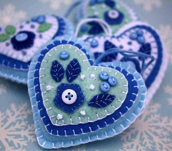 Felt Christmas ornament. Blue and white heart decoration, holiday decor