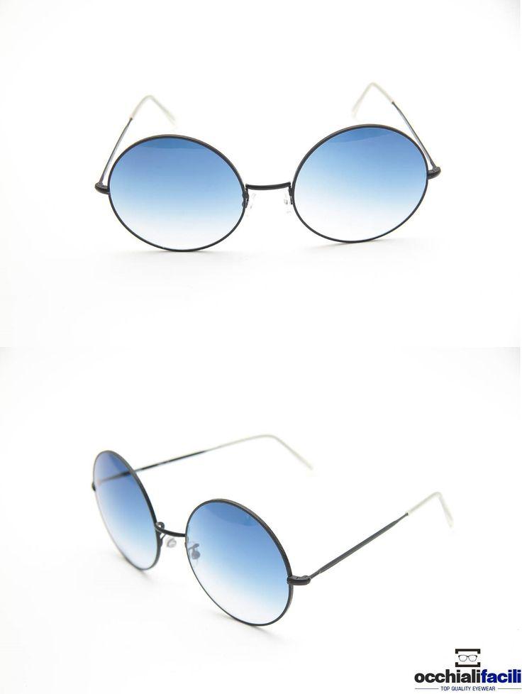Occhiali da sole Mata RC2 C F3 in metallo nero satinato con lenti sfumate, forma tonda e terminali in celluloide. http://www.occhialifacili.com/prodotto/occhiali-da-sole-mata-rc2-c-f3-59-21/