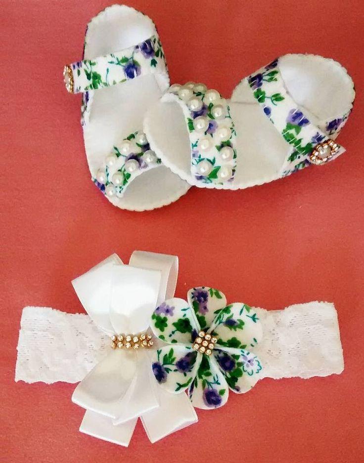 Como fazer sandália para bebê em feltro a mão
