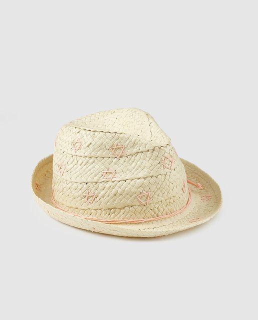 Sombrero de niña Brotes en beige con bordado  845f92465b0