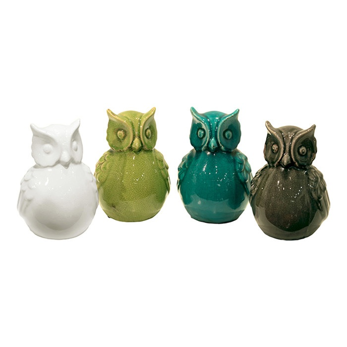 4 Piece Owl Statue Set
