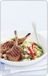 Spicy lamb cutlets with cous cous salad
