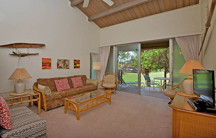 1380204 Hale Kai Honokowai West Maui Vacation Condo Rental Oceanfront | Maui Hawaii Vacations Living Room Area with Queen Sofa Sleeper