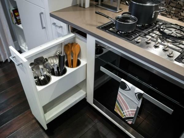 HGTV Urban Oasis 2014 | hookedonhouses.net   What a great way to reduce counter clutter!
