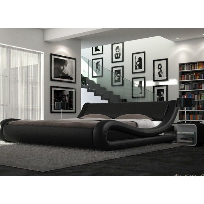Enzo Italian Modern Designer Double Or King Size Leather Bed Memory Mattress Home
