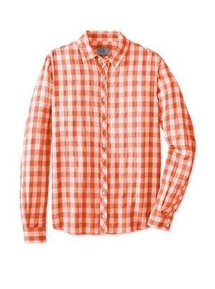 68% OFF Qi New York Men's Lawton Large Gingham Shirt (Orange)