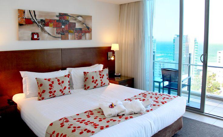 Main Bedroom   2 Bedroom Sky Suite (sleeps 6), Wyndham Surfers Paradise, Gold Coast, Queensland, Australia.