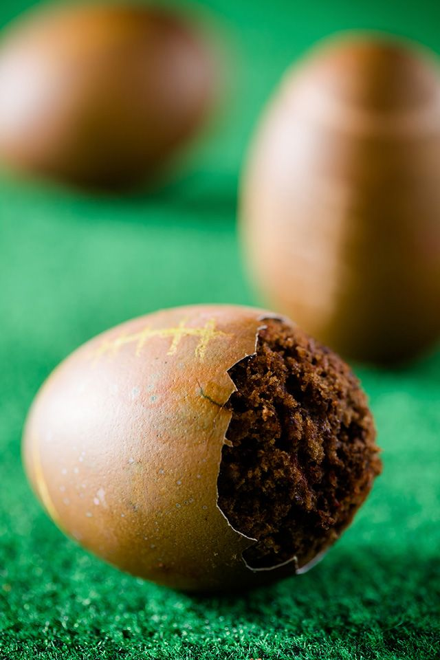 Cupcakes Baked Inside of Eggshells, Made to Look Like Footballs