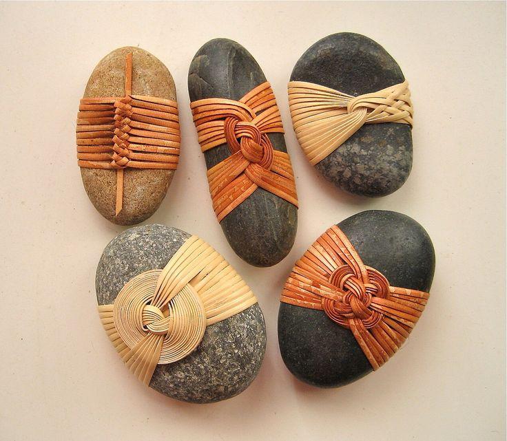 Cane wrapped rocks, Japanese basketry knots.: