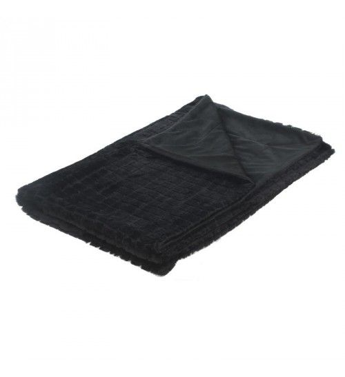 SYNTHETIC FUR THROW IN BLACK COLOR 150X180