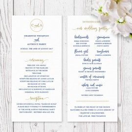 Navy Blue, White and Gold Statement wedding program order of events, printed on double sided card Peach Perfect Australia