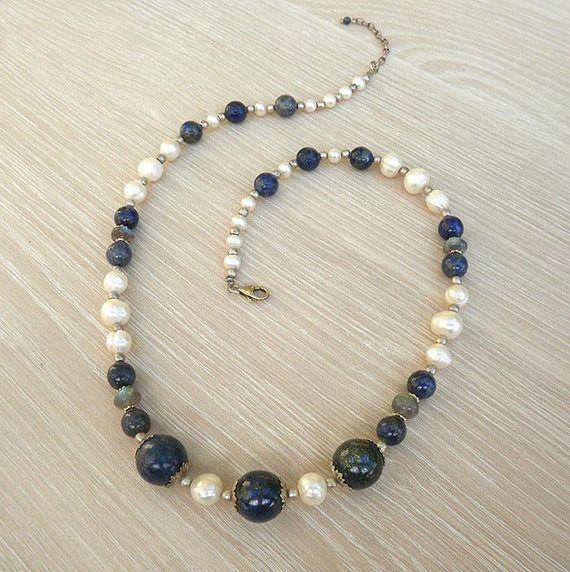 Lapis Lazouli necklaceblue necklacesilver necklacepearl