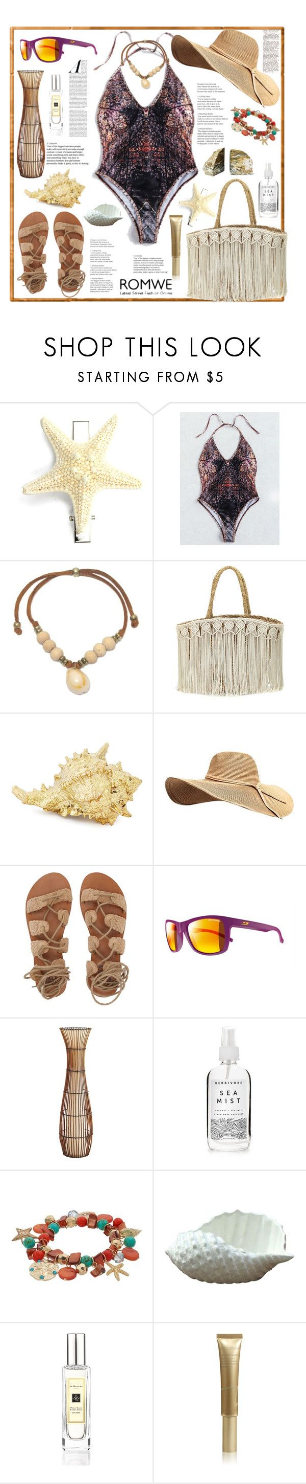 """""""ROMWE. Sea finds."""" by natalyapril1976 ❤ liked on Polyvore featuring Flora Bella, Philmore, Billabong, Julbo, Pier 1 Imports, Herbivore, Jo Malone and Jane Iredale"""