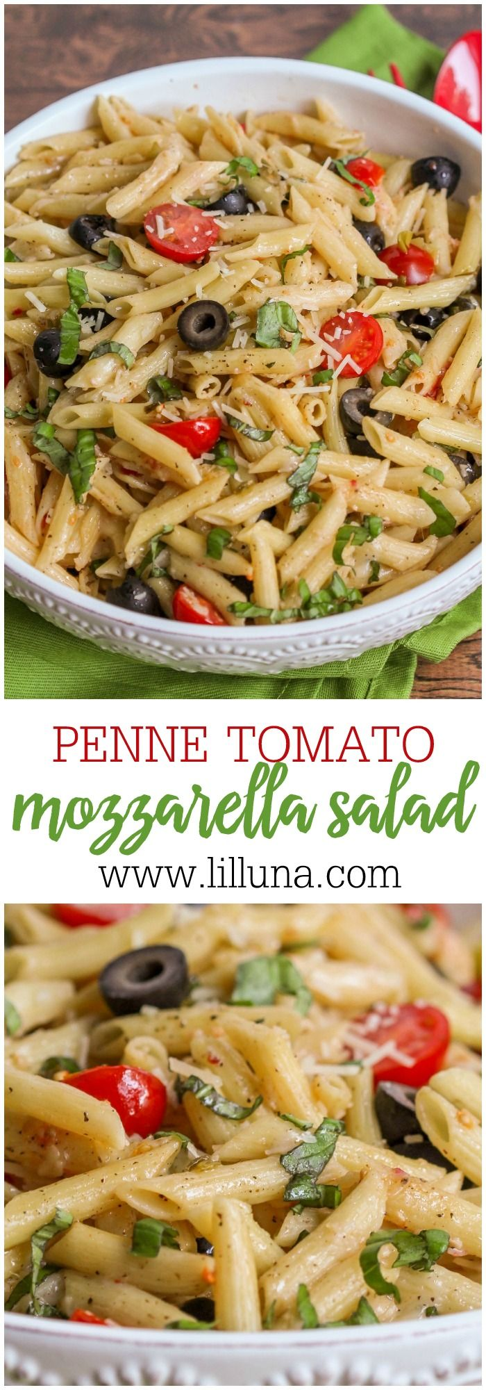 Penne Tomato Mozzarella Salad A Delicious Pasta Salad Filled With Pasta Tomatoes Olives