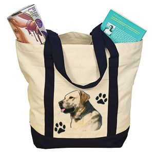 """Product # DC30007 - Lets everyone know the object of your canine devotion! Roomy, over-the-shoulder carry bag is made of durable cotton canvas and features a beautiful image of a Yellow Lab. Bag has exterior slash pocket, zippered top closure and is made from 100% natural cotton. 18"""" W x 14"""" H x 7"""" D   $14.98"""