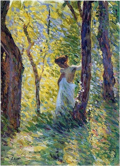Henri Lebasque - Jeune fille dans claireiere 1897