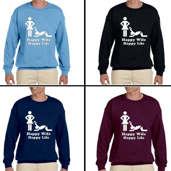 Happy wife Happy life Unisex Adult sweater Crewneck Sweatshirt