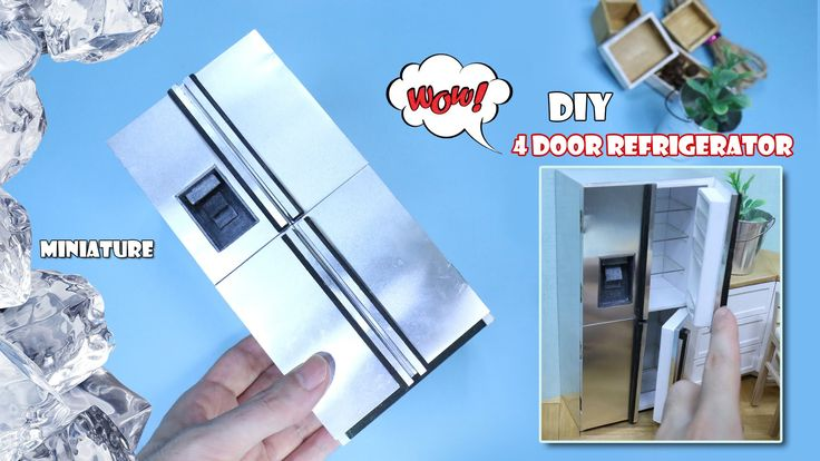 MINIATURE DIY - 4 door stainless steel refrigerator(Dollhouse Refrigerat...