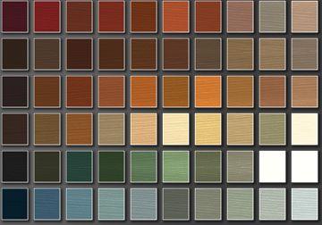 Wood siding stain color chart (semi-transparent). Behr Premium.