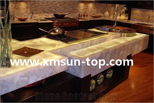 White Crystal Semi-Precious Stone Kitchen Counter Top/Pure White Precious Stone Kitchen Island Tops/Kitchen Tops/Kitchen Bar Tops/Kitchen Worktops/Custom Countertop/Semi Precious Kitchen Countertop - Xiamen Sun Top Imp.&Exp.Co.,Ltd