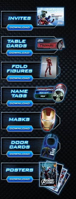 Avengers Super Heroes Masks - free download. Also name tags and more...