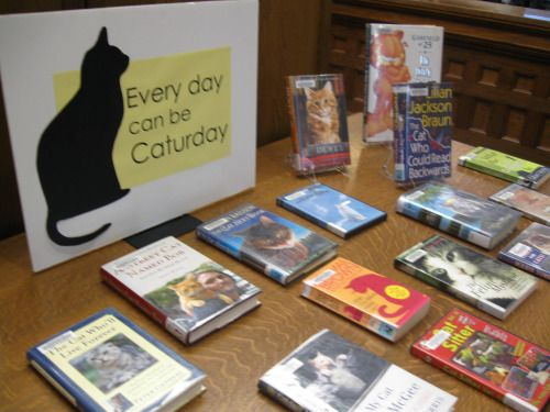 Caturday Library Display at Oskaloosa Public Library