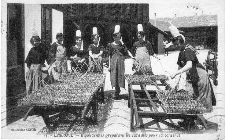 Sardinières dans une conserverie de Lesconil, années 30