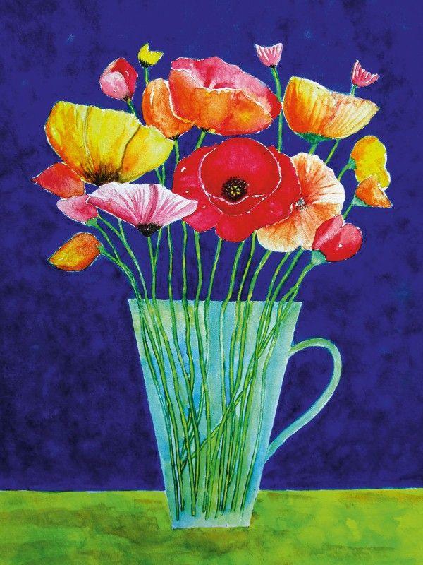 Articos Bunte Blumen Vase Mohnblumen Alubild Wandbilder Blumen Pflanzen Mohnblumen Mohnblume Blumen Aquarell Mohnblumen Bilder