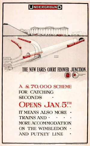 LT New Earls Court Flyover Junction London Underground, 1913 - original antique poster by Charles Sharland