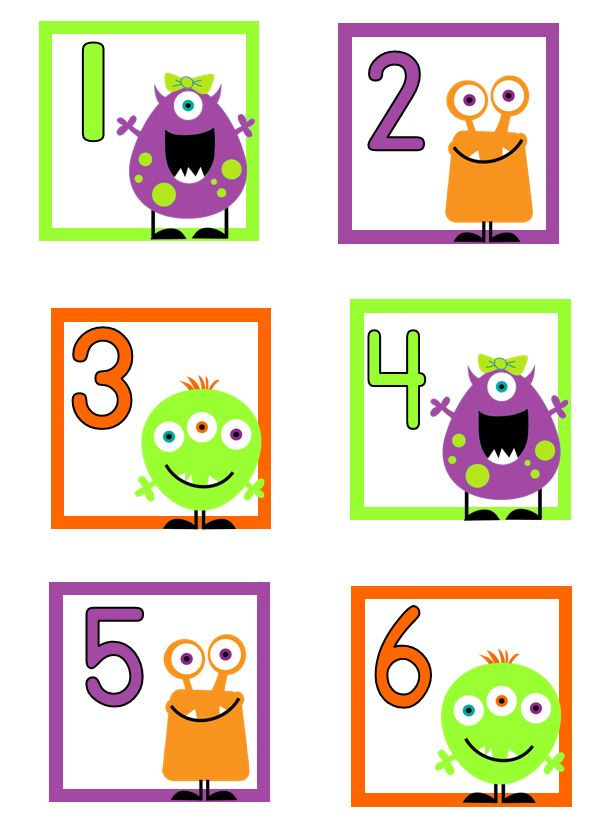 I decided I didn't want to use the calendar math numbers that come out of our Everyday Counts kit, so I made cute monster cards. I love these cards because we can use them to discuss different patterns (purple/orange/green, girl/boy/boy, 1 eye/2 eyes/3 eyes).  OCTOBER