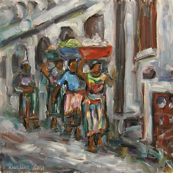 women, people, mayan women, guatemalan, carrying food on top of head when walking, guatemala, central america, latin american, impressionism, impressionist, handwoven, textiles, tradition, dress, weaving clothe, corns, grain, original, art, oil painting,