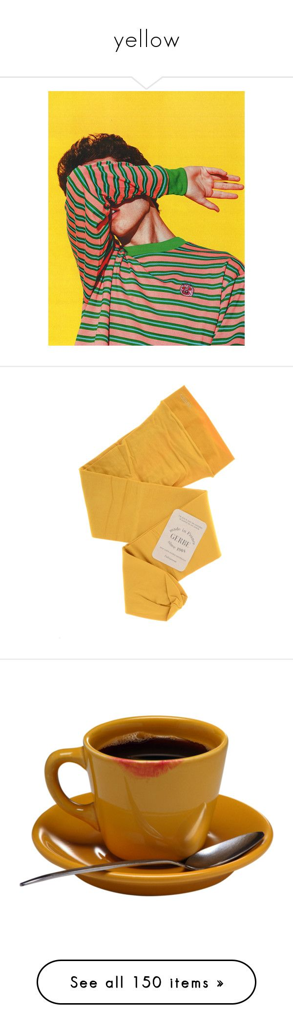 yellow by milktop on Polyvore featuring polyvore, yellow, Color, colour, aesthetic, people, pictures, women's fashion, clothing, intimates, hosiery, tights, gerbe, gerbe stockings, gerbe hosiery, gerbe tights, food, fillers, drinks, food and drink, coffee, backgrounds, skirts, bottoms, clothes - skirts, socks, accessories, socks/tights, opaque pantyhose, shiny stockings, shiny pantyhose, glossy pantyhose, glossy tights, tea, bags, tops, t-shirts, shirts, tees, drop shoulder t shirt, short…