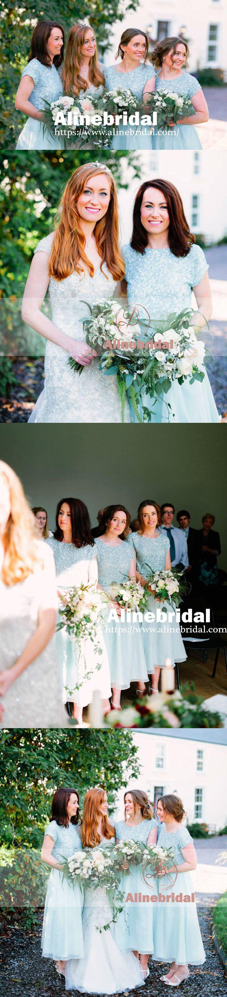 SPARKLY SEQUINS LIGHT BLUE CHIFFON ROUND NECK SHORT SLEEVE ANKLE-LENGTH BRIDESMAID DRESSES. AB1196