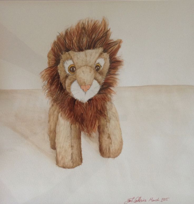animal art - Cuddly Lion painting! My son loves this painting of his favourite toy.  See my other creations at www.bluebrush.co.nz or follow @Bluebrushart #artforboys #lionpainting