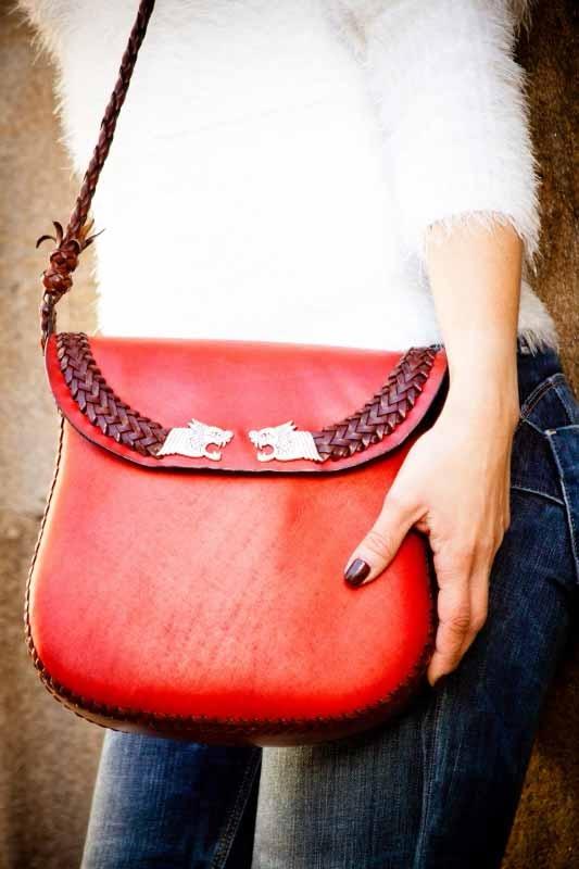 Leather and nubuk handmade dragons bag Roxu - Made in Galicia - $349.00