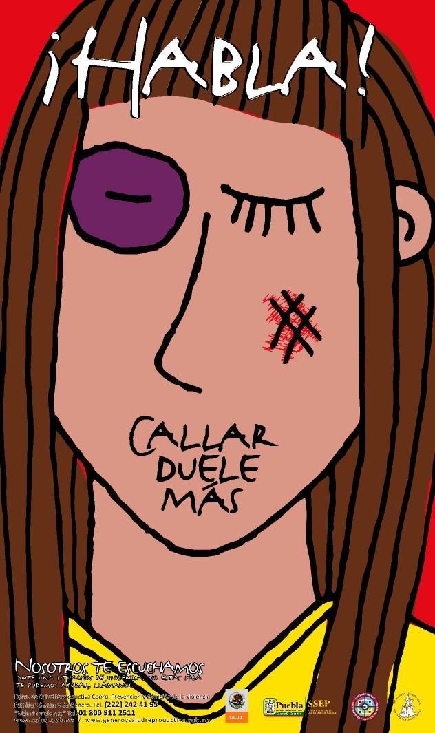 Cartel contra la violencia hacia la mujer.