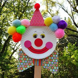 Make fun circus clown puppets from paper plates and other supplies. The kids will love them!