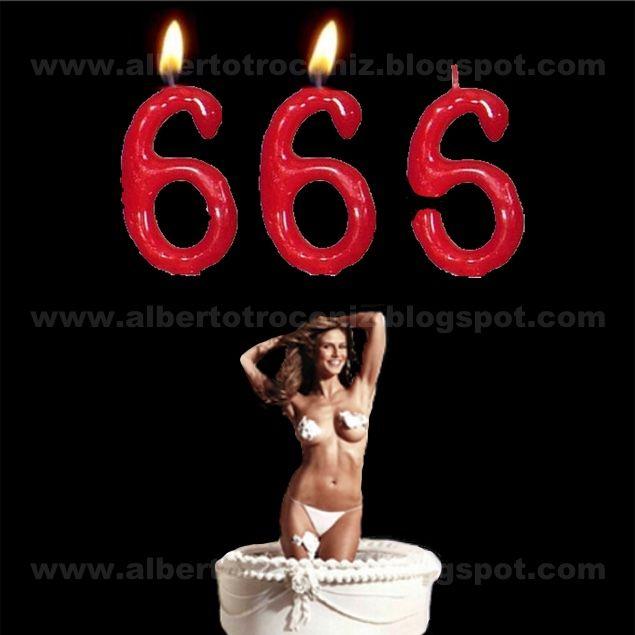 """SIX, SIX, SEX? // Sirva este """"post"""" para dar las gracias a todos los que han mandado su saludo y felicitación de cumpleaños aunque se pongan """"los pelos como escarpias"""" al caer en la cuenta que aproximo —como todos aquellos de mi quinta— ese número infame, el de la bestia: 66,6 ; lo cual calculo me cae por Navidades. El único consuelo en lontananza es avanzar hacia el 69 y poder todavía encender velas; (96 pudiera ya ser mucho)…—…"""