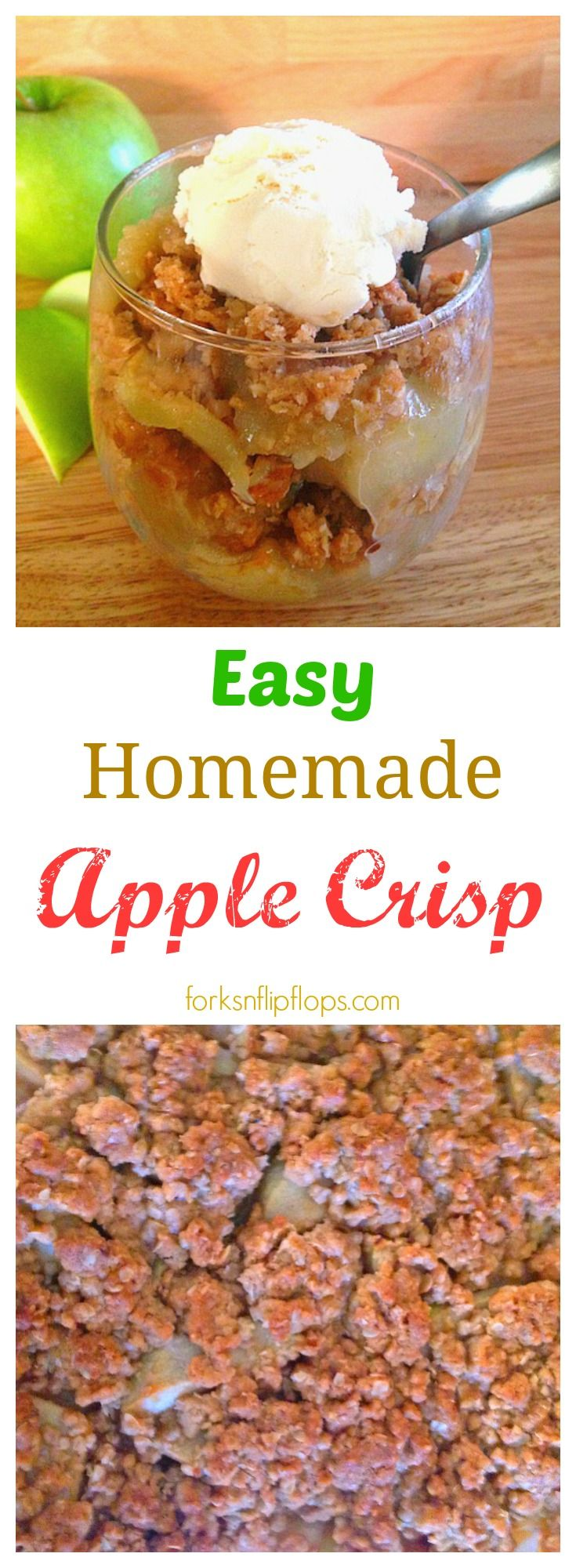 Easy Homemade Apple Crisp dessert is a perfect Fall recipe that melts in your mouth! It is the best apple crisp ever!