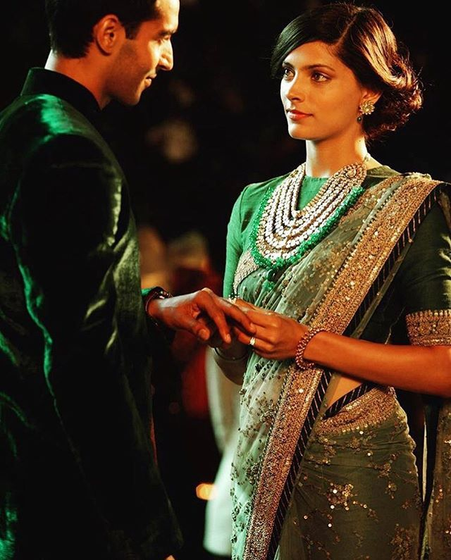 WEBSTA @ sabyasachiofficial - #SaiyamiKher in a #Sabyasachi #Sari @saiyami A still from her Movie #Mirzya #HandCraftedInIndia #TheWorldOfSabyasachi #Styled by @stylebyami and @leepakshiellawadi