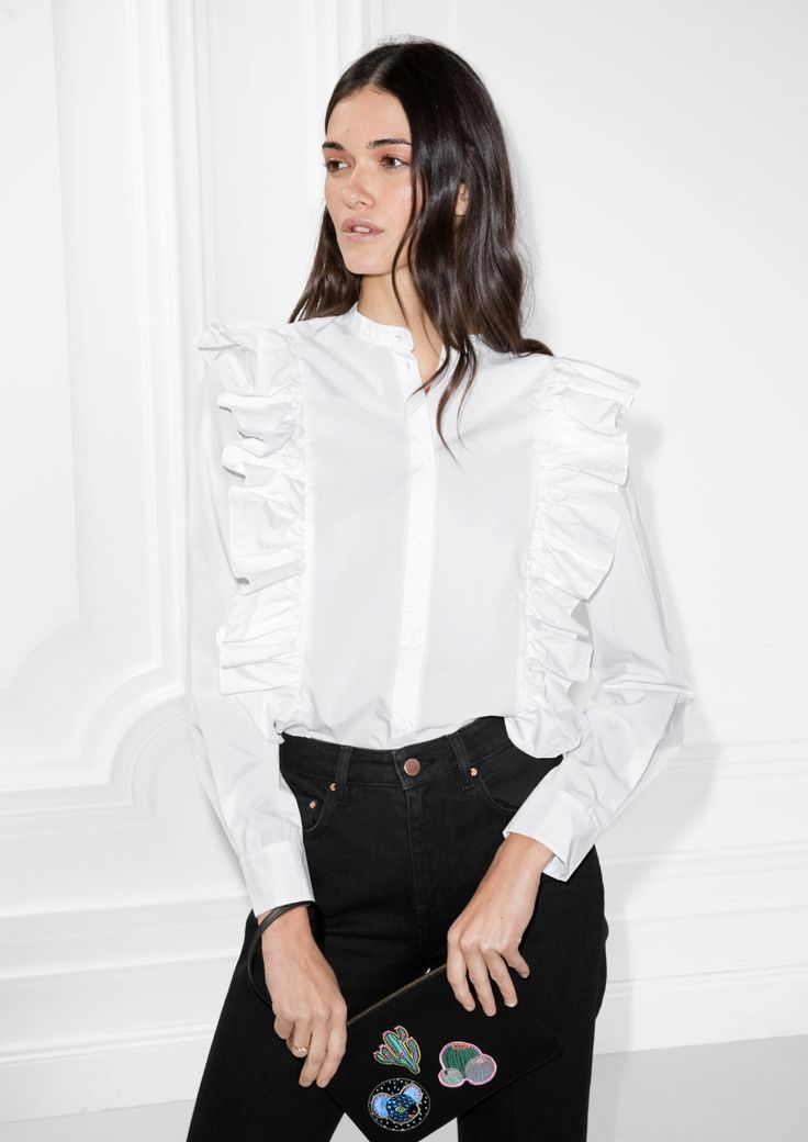 & Other Stories image 2 of Frills Button Down Blouse in White