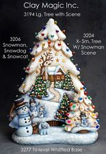 Ceramic Bisque Large Christmas Tree w/ Scene, Lighted, Ready To Paint
