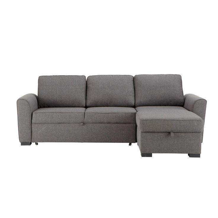 3/4 seater fabric corner sofa bed in grey