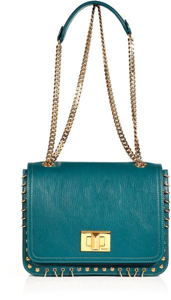 EMILIO PUCCI Petrol and Gold Studded Satchel