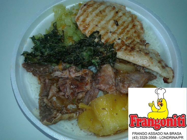 Hoje tem: Costela com mandioca, file de frango grelhado, bolinho de espinafre, refogado de chuchu, feijão com arroz mais salada.
