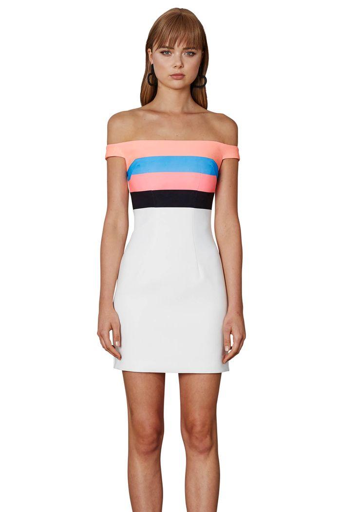 BY JOHNNY. Neon Stripe Cold Shoulder Mini Dress | Contemporary Australian Womenswear