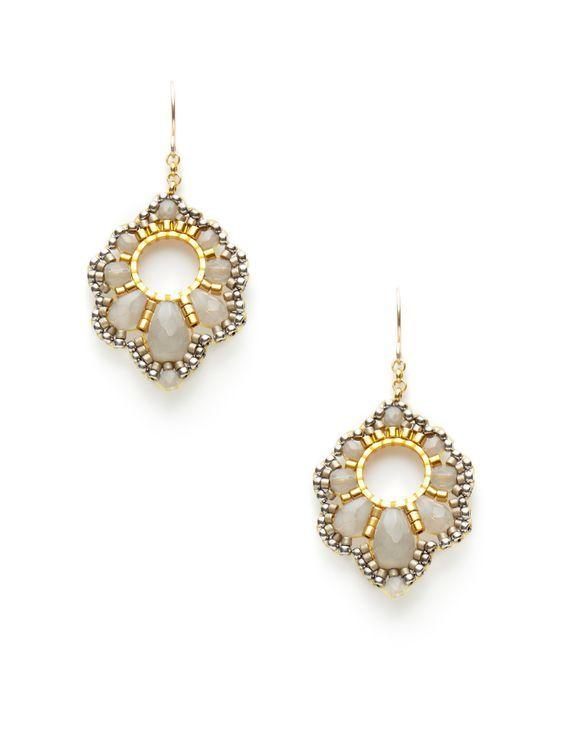 beaded Faceted Grey Bead Curvy Geometric Shape Earrings